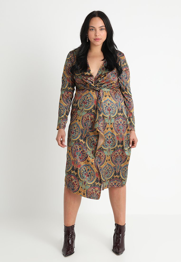 Missguided Plus - PAISLEY GATHERED MIDI DRESS - Hverdagskjoler - multi