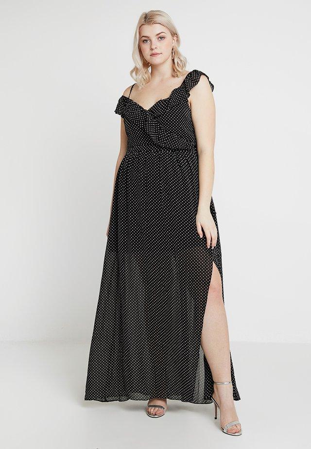 EXCLUSIVE BRIDESMAID'S POLKA DOT COLD SHOULDER MAXI DRESS - Suknia balowa - black/white