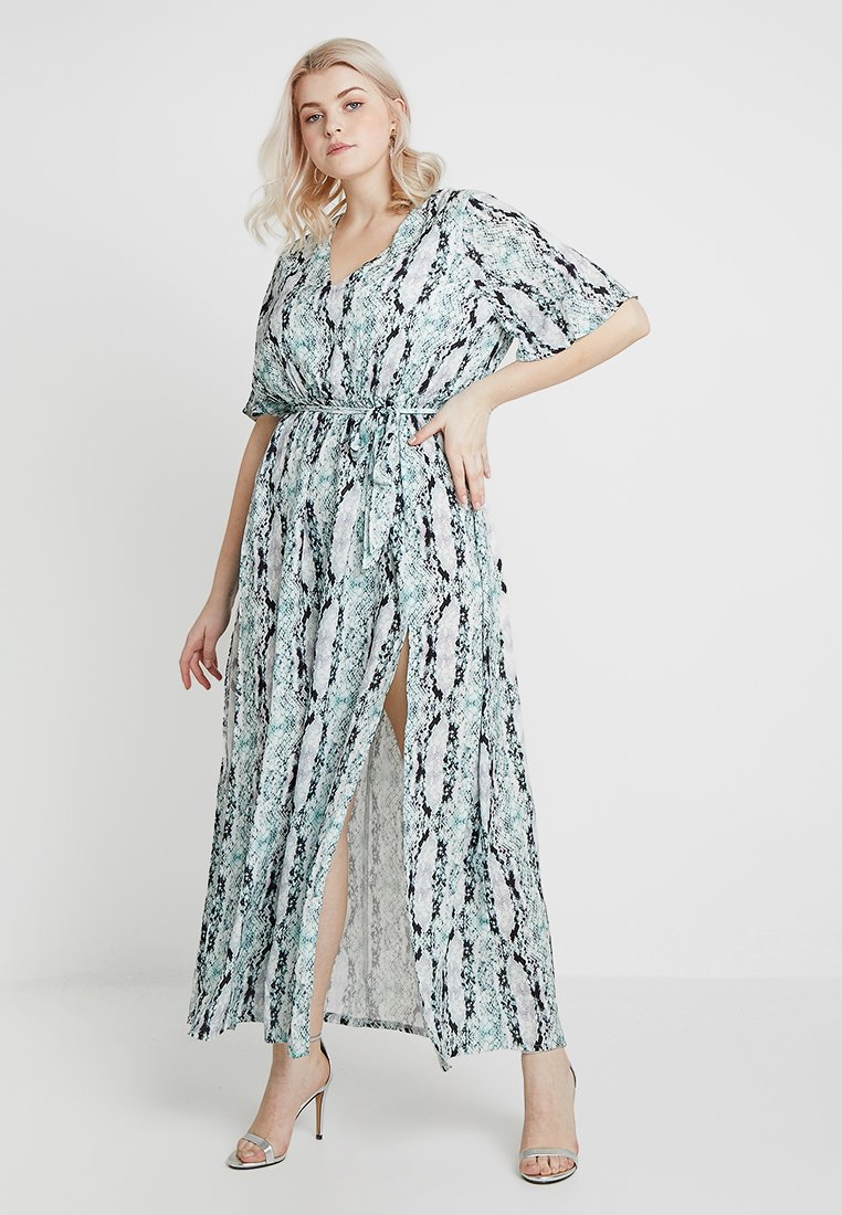 Missguided Plus - EXCLUSIVE BRIDESMAID'S CURVE SNAKE PRINT FRILL SLEEVE DRESS - Cocktailkleid/festliches Kleid - green/black/white