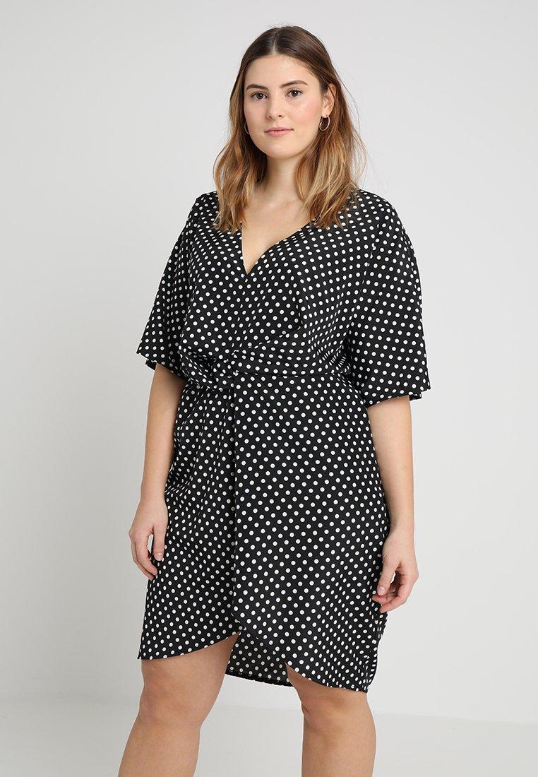Missguided Plus - EXCLUSIVE POLKA DOT DRESS - Vestito estivo - black