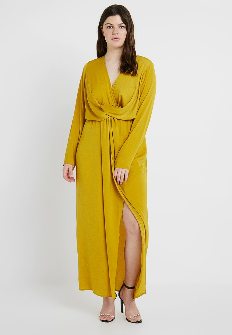 Missguided Plus - WRAP KNOT FRONT DRESS - Robe longue - chartreuse
