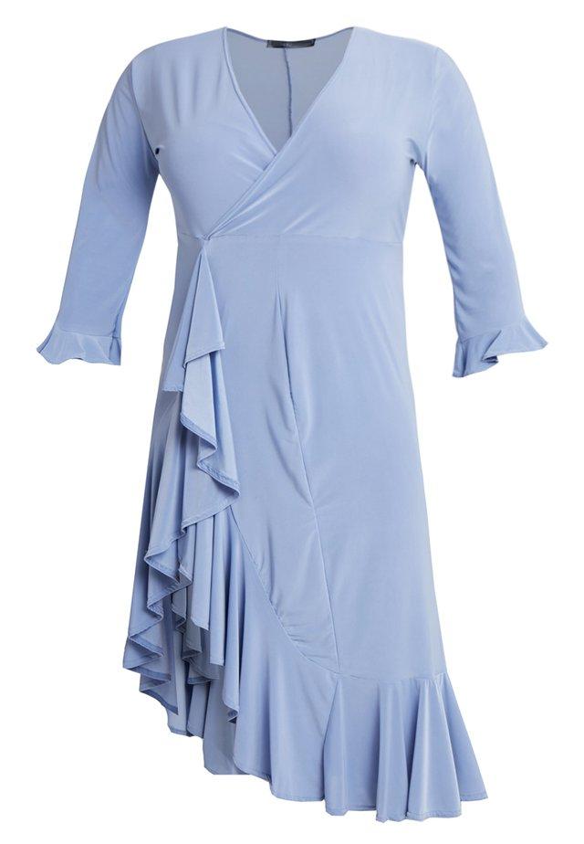 FRILL HEM MIDI DRESS - Jerseyjurk - blue
