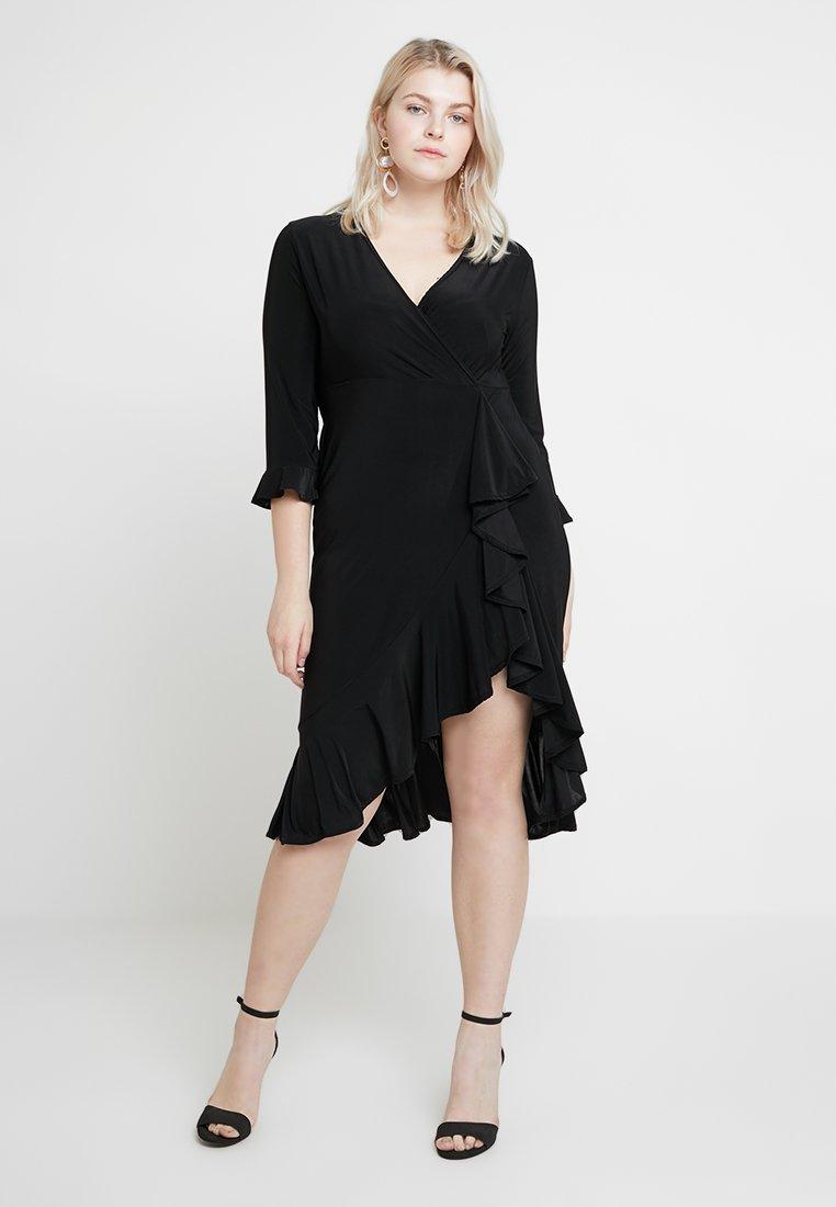 Missguided Plus - SIZE FRILL SLEEVE MIDI DRESS - Jersey dress - black