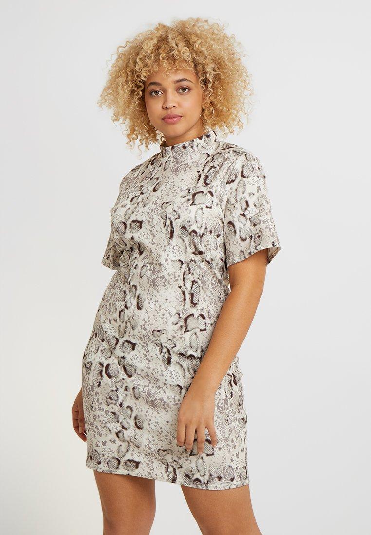 Missguided Plus - HIGH NECK DRESS - Pouzdrové šaty - grey