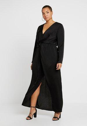 THIGH SPLIT WRAP DRESS - Maxi dress - black