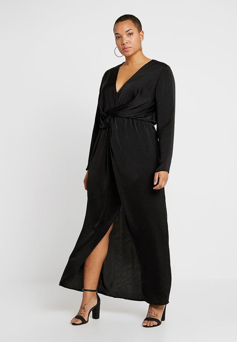 Missguided Plus - THIGH SPLIT WRAP DRESS - Vestito lungo - black