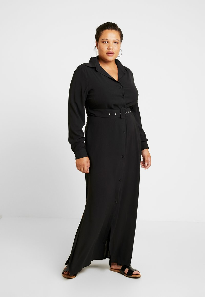 Missguided Plus - MAXI BELTED DRESS - Vestido camisero - black