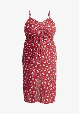 CURVE FLORAL TWIST FRONT MIDI DRESS - Day dress - red