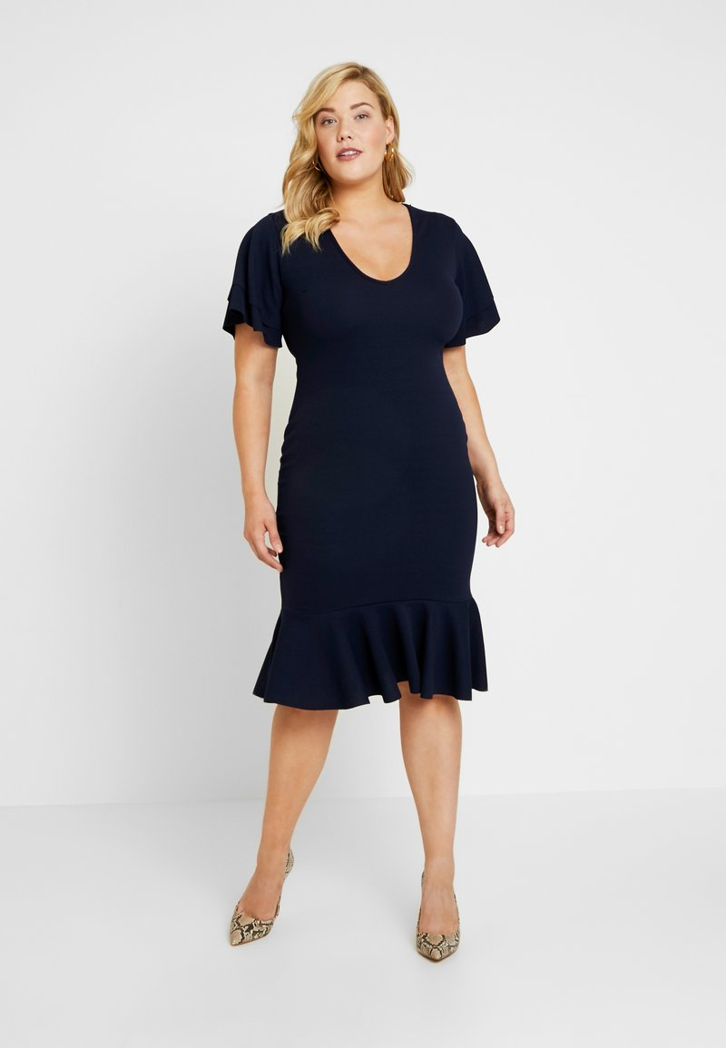 Missguided Plus - DOUBLE FRILL SLEEVE DRESS - Jerseykjoler - navy