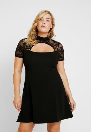 FRONT KEYHOLE DRESS - Jersey dress - black