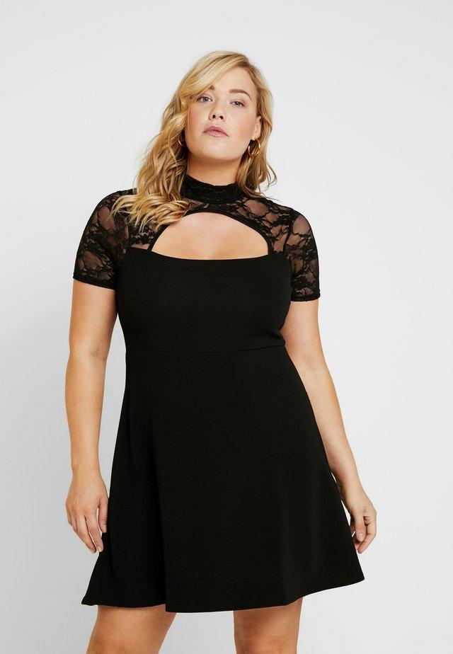FRONT KEYHOLE DRESS - Jerseyjurk - black