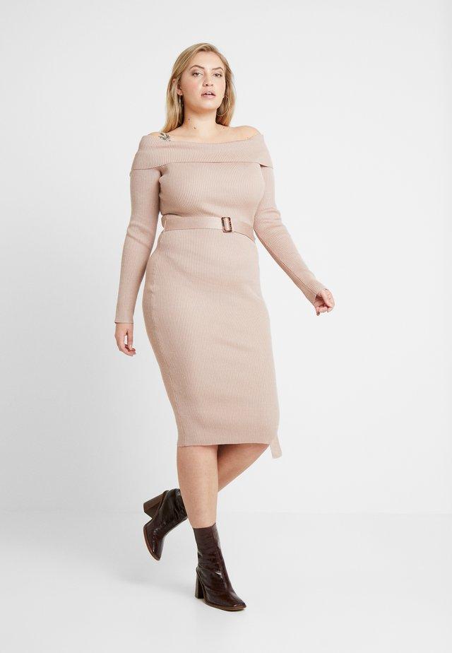 ROLL NECK BELTED MIDI DRESS - Shift dress - chocolate
