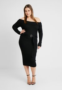 Missguided Plus - ROLL NECK BELTED MIDI DRESS - Pouzdrové šaty - black - 0