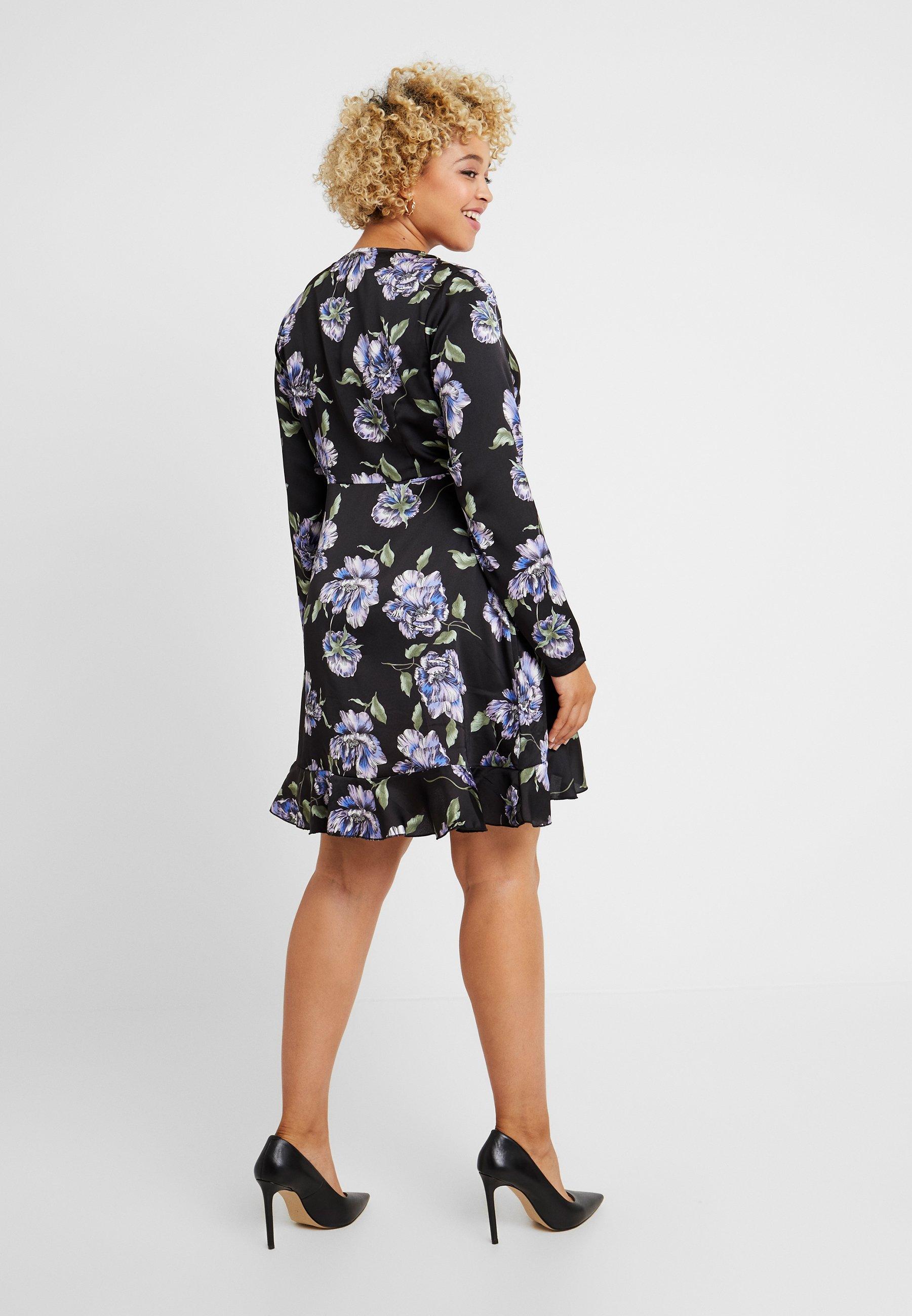 Missguided DressVestito Estivo Black Wrap Floral Plus Mini dthBsQxorC