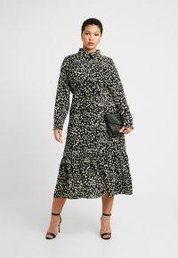 Missguided Plus - TIE FRONT RUFFLE MAXI DRESS - Skjortekjole - black - 2