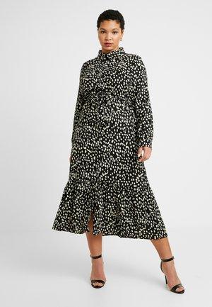 TIE FRONT RUFFLE MAXI DRESS - Skjortekjole - black