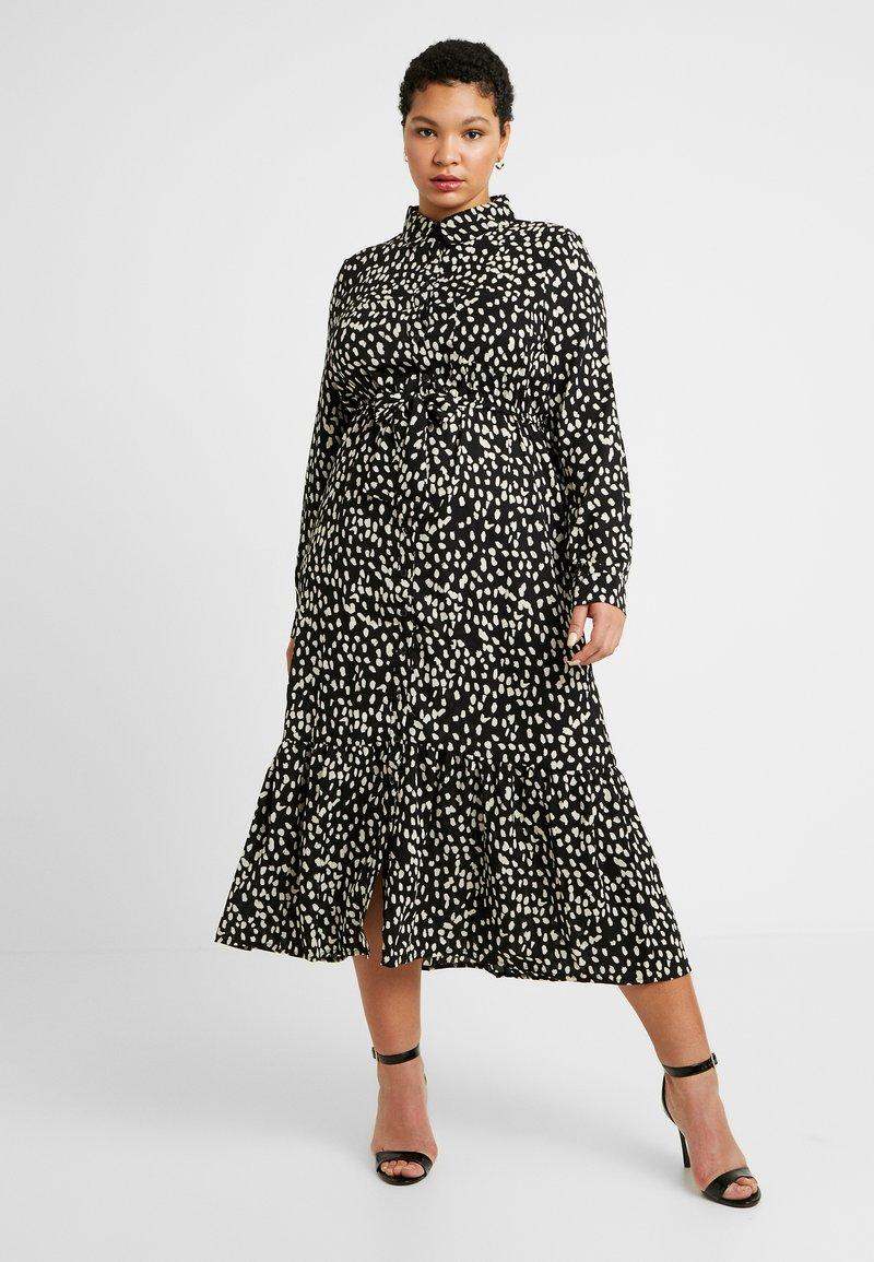 Missguided Plus - TIE FRONT RUFFLE MAXI DRESS - Skjortekjole - black