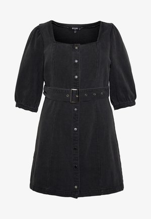 SQUARE NECK BELTED DRESS - Vestito di jeans - washed black