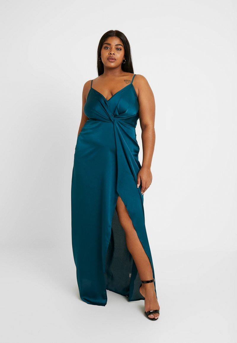 Missguided Plus - TWIST FRONT DRESS - Abito da sera - teal