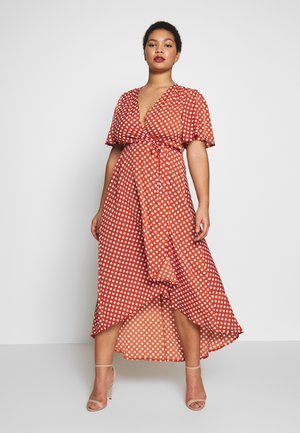 POLKA DOT WRAP DRESS - Vestito estivo - rust