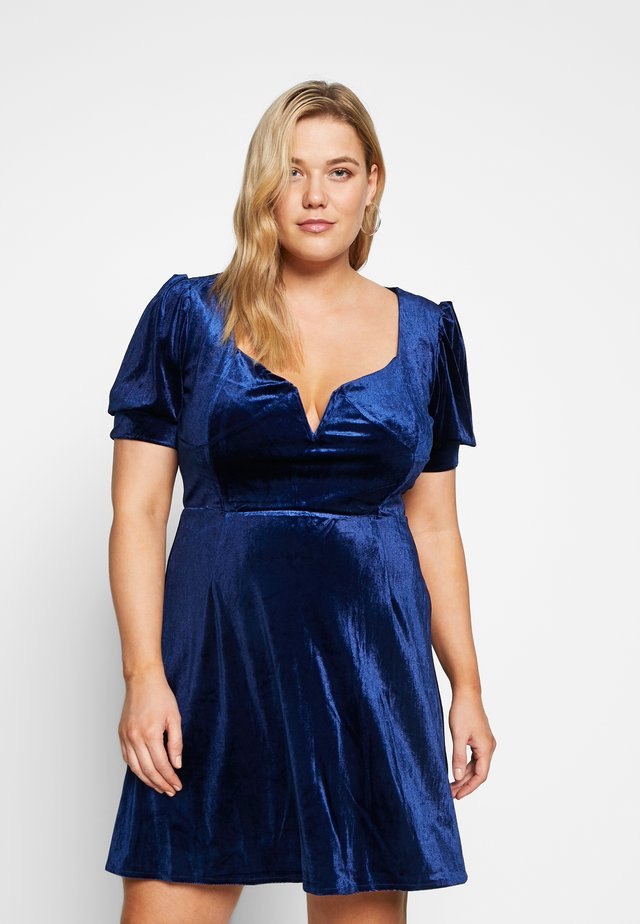 EXCLUSIVE PLUNGE PUFF SLEEVE MINI DRESS - Cocktail dress / Party dress - blue
