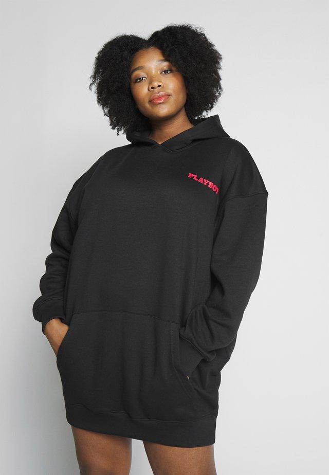PLAYBOY LIPS DIAMANTE MAGAZINE GRAPHIC HOODIE JUMPER DRESS - Vestido informal - black