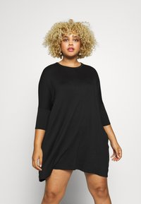 Missguided Plus - OVERSIZED DRESS - Robe en jersey - black - 0