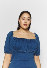Missguided Plus - RUCHED BUST MINI DRESS - Jeanskleid - blue - 4
