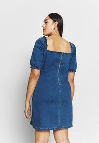 Missguided Plus - RUCHED BUST MINI DRESS - Jeanskleid - blue - 2