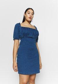 Missguided Plus - RUCHED BUST MINI DRESS - Jeanskleid - blue - 0