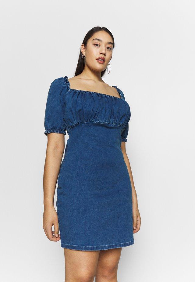 RUCHED BUST MINI DRESS - Spijkerjurk - blue