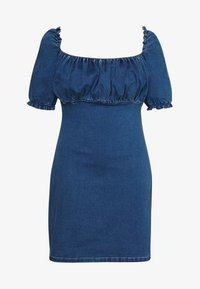 Missguided Plus - RUCHED BUST MINI DRESS - Jeanskleid - blue - 5