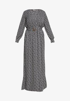 FLORAL BUCKLE BELTED SLIT MAXI  - Vestito lungo - black