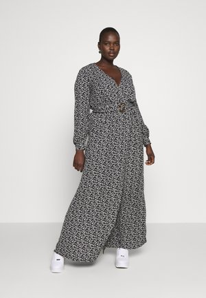 FLORAL BUCKLE BELTED SLIT MAXI  - Maxi dress - black