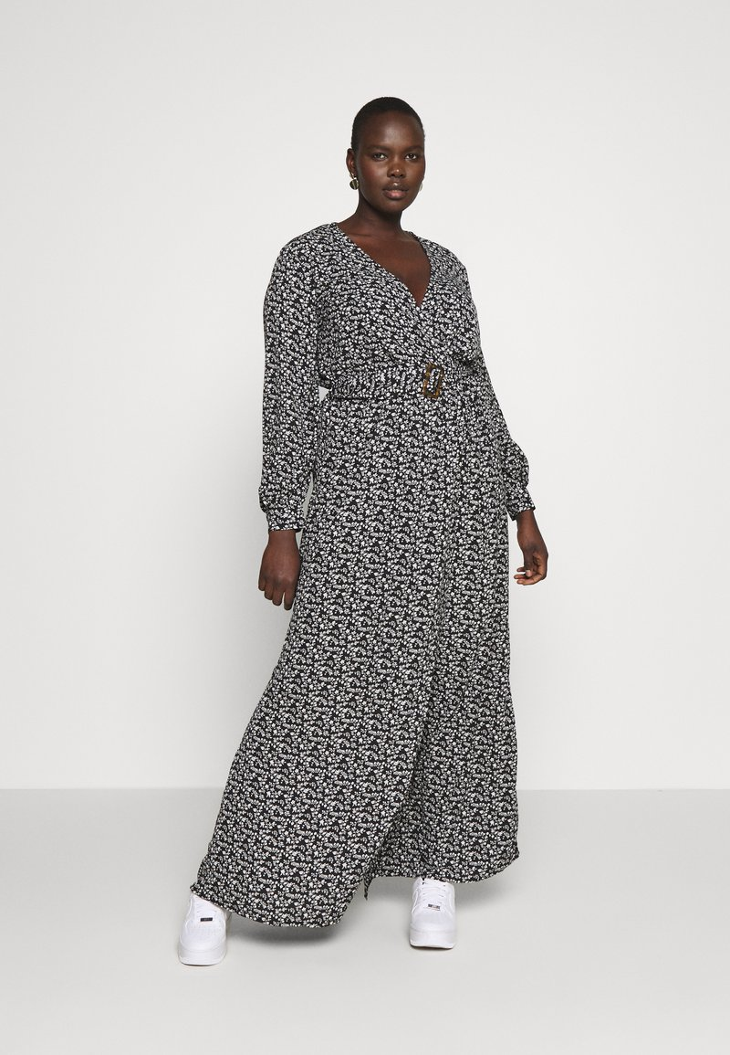 Missguided Plus - FLORAL BUCKLE BELTED SLIT MAXI  - Maxi šaty - black