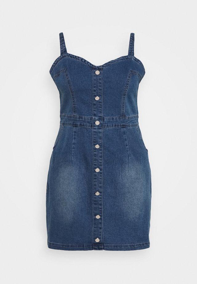 BUTTON DETAIL STRETCH MINI DRESS - Farkkumekko - blue denim