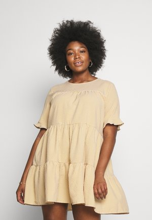 TIERED FRILL SLEEVE SMOCK DRESS GINGHAM - Day dress - yellow