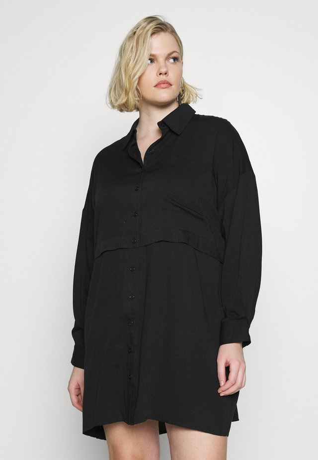 PLUS SIZE UTILITY SHIRT DRESS - Košilové šaty - black