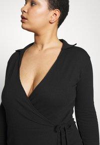 Missguided Plus - PLUS SIZE RIBBED TIE SIDE MIDI COLLAR DRESS - Jersey dress - black - 3