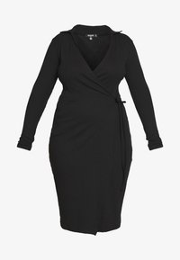Missguided Plus - PLUS SIZE RIBBED TIE SIDE MIDI COLLAR DRESS - Jerseykjole - black - 4