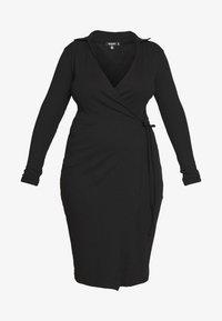 Missguided Plus - PLUS SIZE RIBBED TIE SIDE MIDI COLLAR DRESS - Jersey dress - black - 4