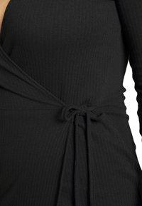 Missguided Plus - PLUS SIZE RIBBED TIE SIDE MIDI COLLAR DRESS - Jersey dress - black - 5