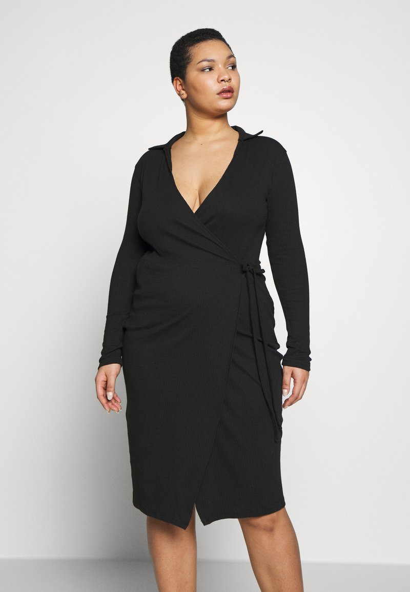 Missguided Plus - PLUS SIZE RIBBED TIE SIDE MIDI COLLAR DRESS - Jerseykjole - black