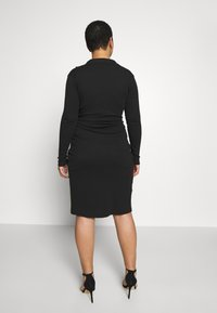Missguided Plus - PLUS SIZE RIBBED TIE SIDE MIDI COLLAR DRESS - Jersey dress - black - 2