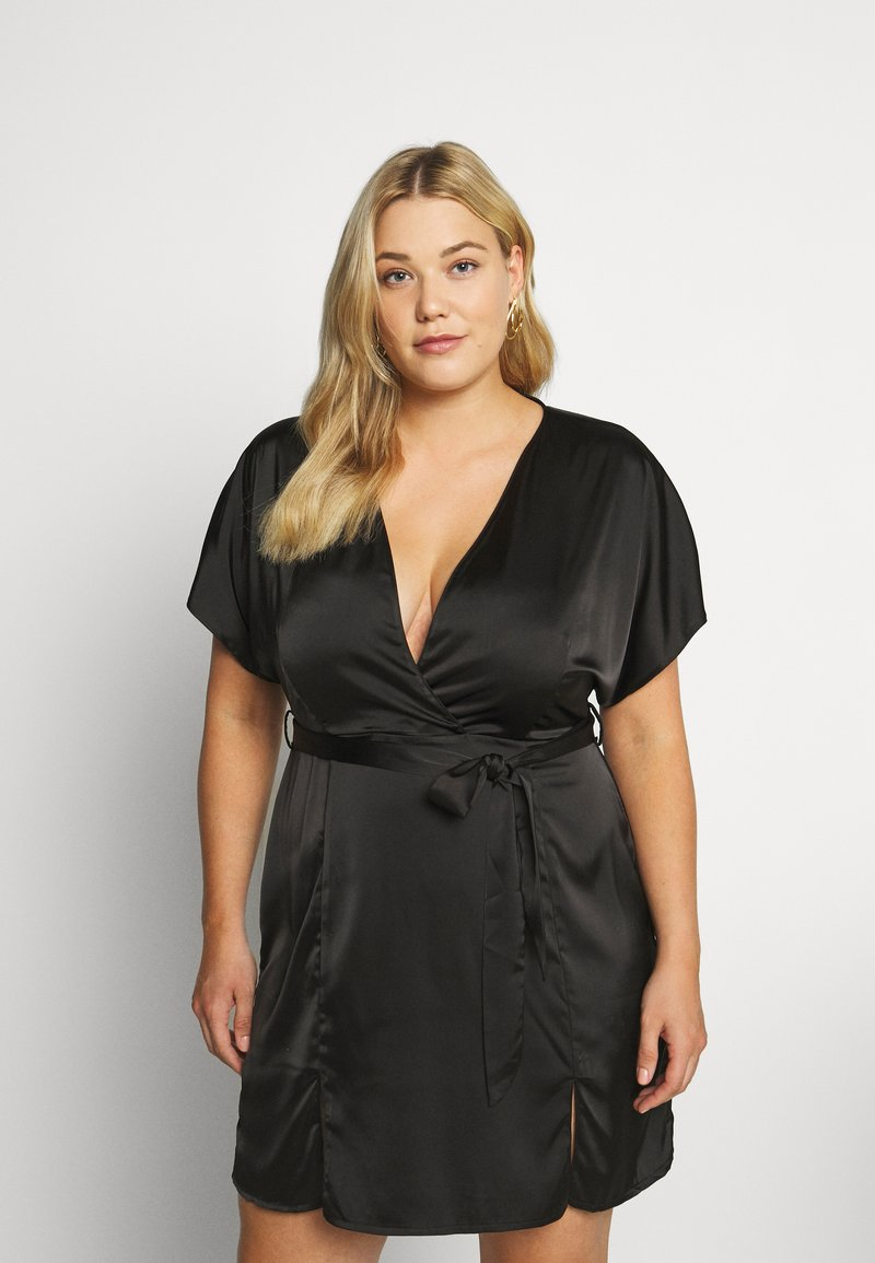 Missguided Plus - KIMONO SLEEVE WRAP SKATER MINI DRESS - Koktejlové šaty/ šaty na párty - black
