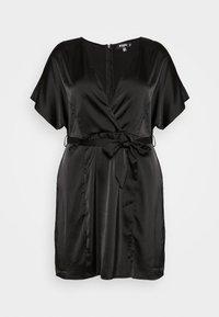 Missguided Plus - KIMONO SLEEVE WRAP SKATER MINI DRESS - Koktejlové šaty/ šaty na párty - black - 4