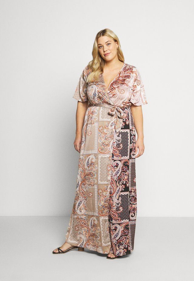 PRINTED TIE BELT DRESS - Maxi dress - rust