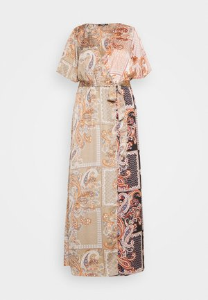 PRINTED TIE BELT MAXI DRESS - Denní šaty - rust