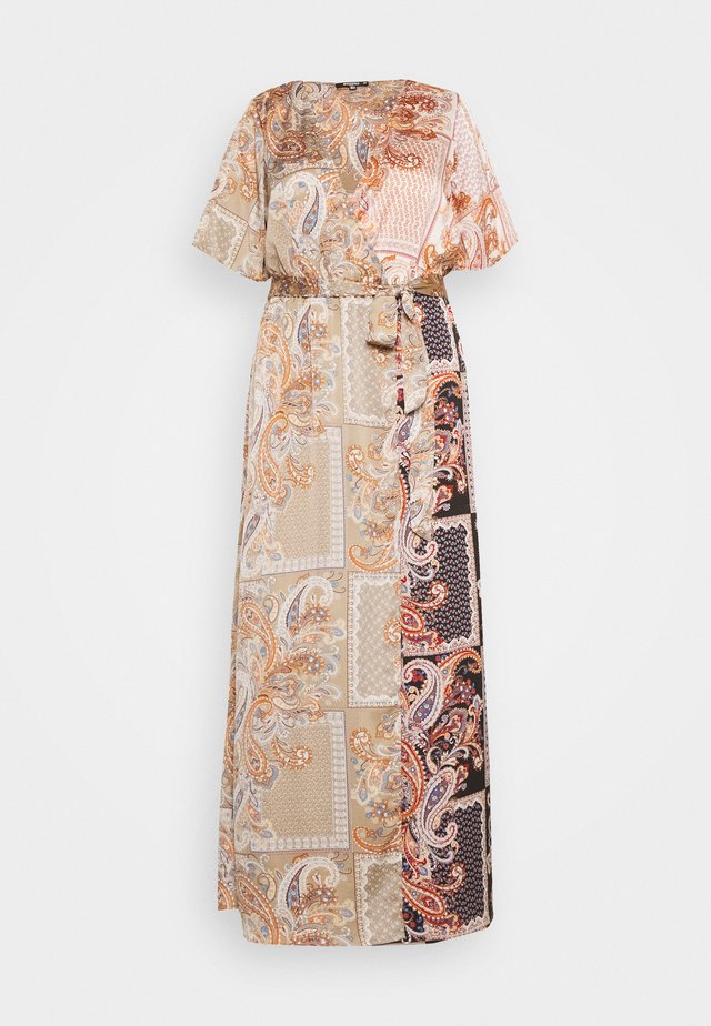 PRINTED TIE BELT MAXI DRESS - Day dress - rust