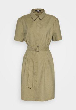 GATHERED WAIST BELTED SHIRT DRESS - Day dress - khaki
